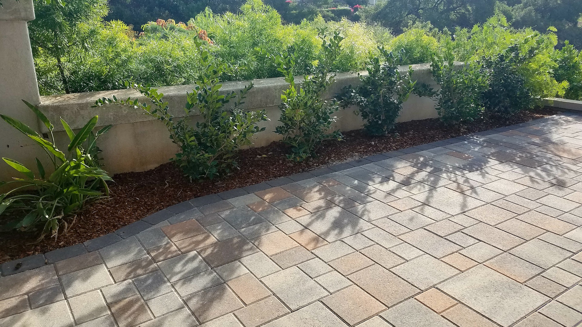 courtyard stones as paver patterns landscape improvement by EcoLawn Santa Barbara