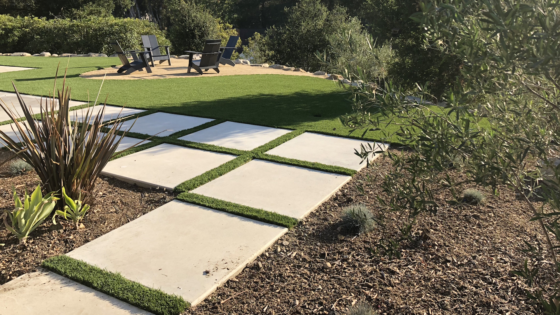 modern as paver patterns landscape improvement by EcoLawn Santa Barbara