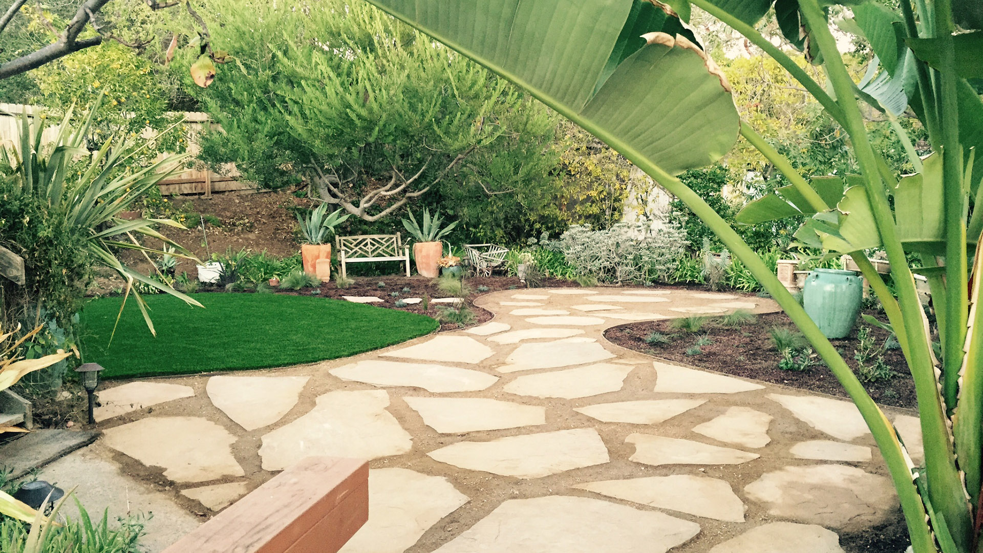 patio for low maintenance yards by EcoLawn Santa Barbara